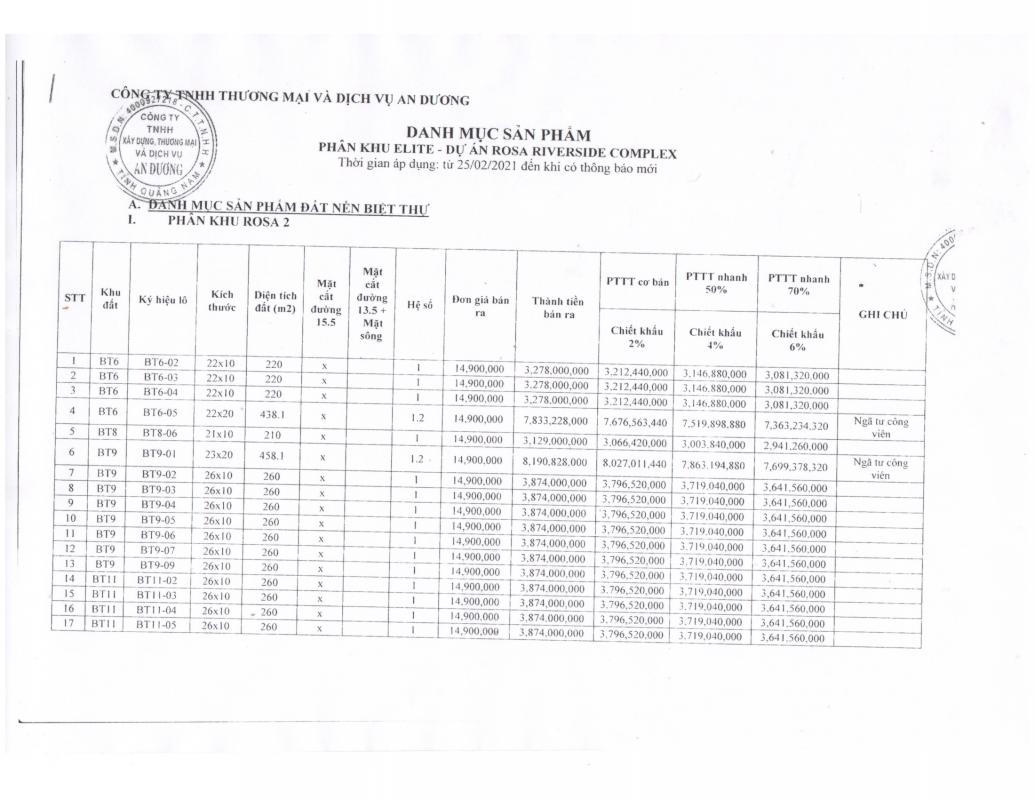 Bảng giá phân khu Elite - dự án Rosa Riverside Complex-1