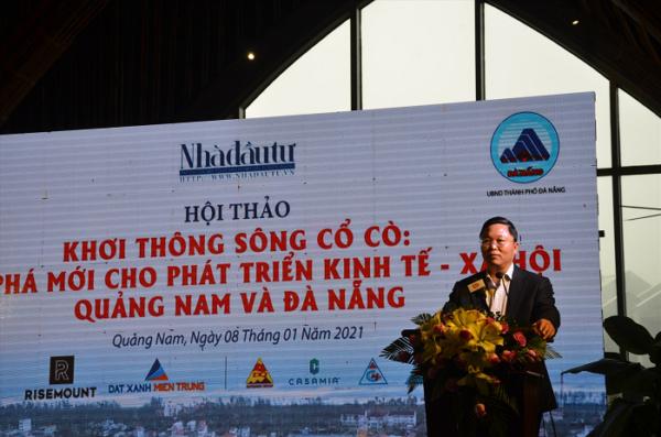Chủ tịch UBND tỉnh Lê Trí Thanh phát biểu tại cuộc hội thảo về sông Cổ Cò diễn ra cuối năm 2020 tại Hội An