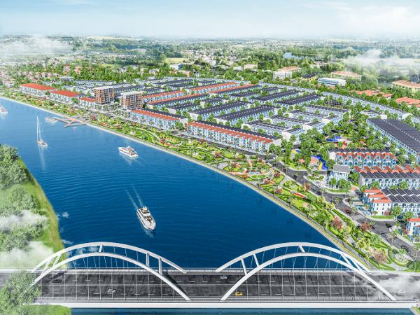 Phối cảnh tổng thể dự án bên dòng sông Cổ Cò
