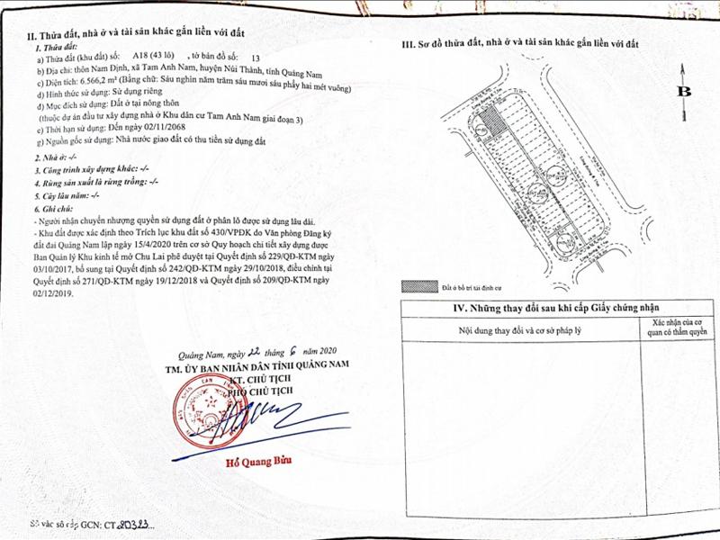 Pháp lý dự án Chu Lai Riverside sổ đỏ từng lô