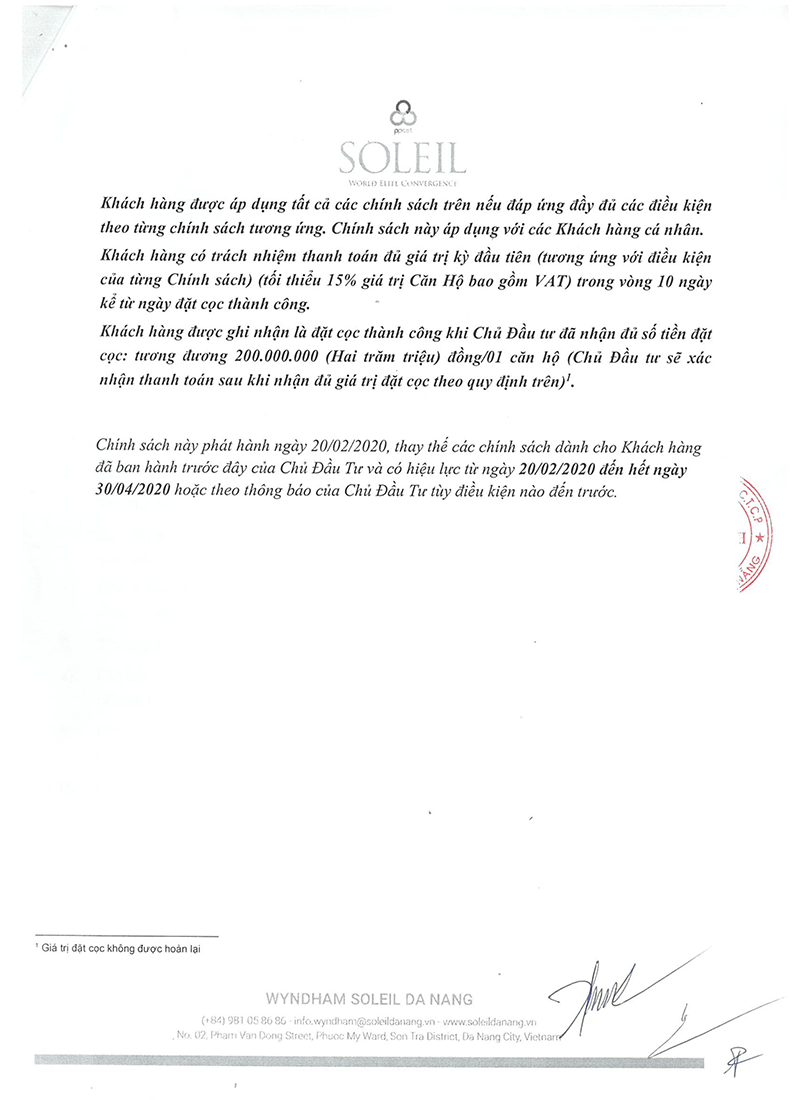 Chính Sách Bán Hàng Dự án Soleil Ánh Dương Đà Nẵng 3