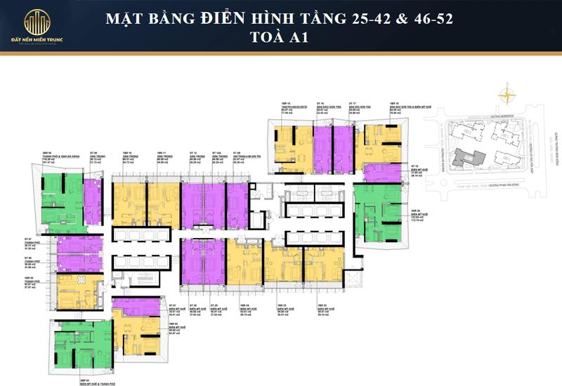 Mặt bằng điển hình tầng 25-42, 46-52 tòa Nimbus