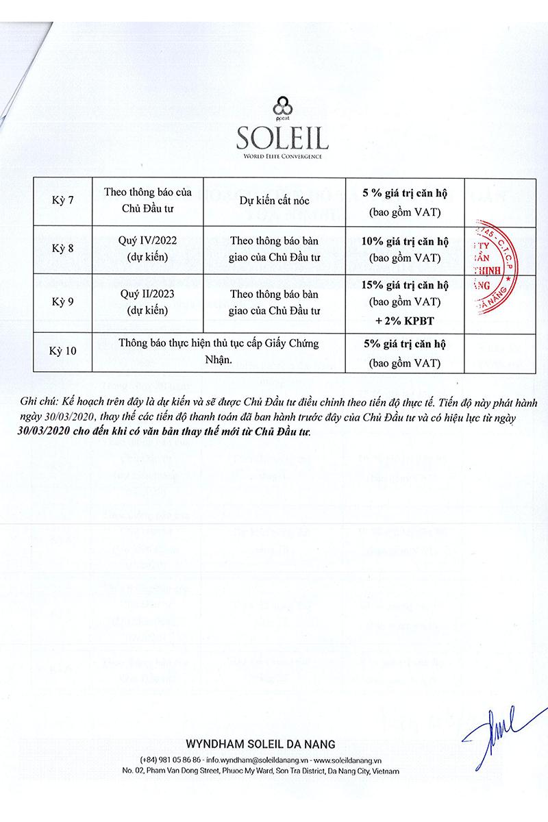 Tiến độ thanh toán dự án Soleil Đà nẵng tòa Nimbus - Tờ 2